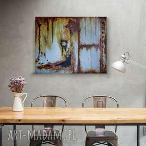 obraz imitujący pordzewiałą ścianę loftowy i industrialny, obraz, nowoczesny