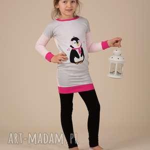 na święta prezenty Świąteczna tunika dla dziewczynki!!, pingwinek, róż, tunika, bluza