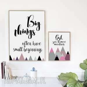 zestaw big things 50x70 40x50 cm, góry, motywacja, girl, różowy