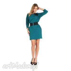 45-sukienka z kokardą,szmaragd,rękaw 3/4,pasek , lalu, sukienka, dzianina, bawełna