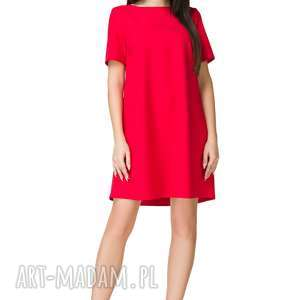 Sukienka trapezowa z krótkim rękawem, T203, czerwona, sukienka, trapezowa, krótki