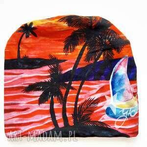 czapki czapka gorąca plaża, hawajski wzór, wyspa, palmy, hawaje