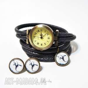 Prezent Komplet - Czarny smok zegarek i kolczyki antyczny brąz,