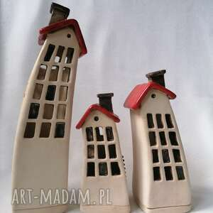 czerwone dachy 2- domki ceramiczne na tea-lighty, kadzidełka, lampiony