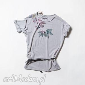 LEAVES koszulka szara oversize, kwiaty, flower, tunika, bluzka, oversize