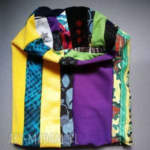 patchworkowa kolorowa damska czapka - patchwork, folk, etno, kolorowa, boho, wiosna