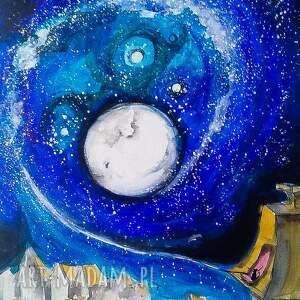 Akwarela MAGIA NOCY artystki plastyka Adriany Laube, akwarela, księżyc, kot, miasto