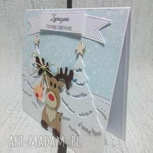 zaproszenie kartka z reniferem, renifer sesja, święta zima, śnieg