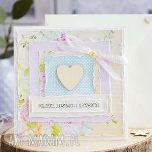 urocza, pastelowa kartka z serduszkiem na każdą okazję personalizacja koperta