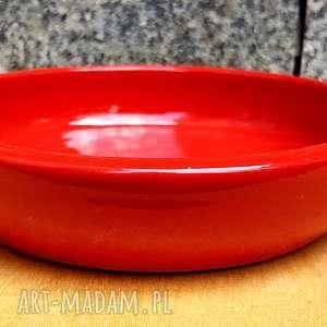 misa czerwona płaska, ceramika, misa, talerz, rękodzieło, glina