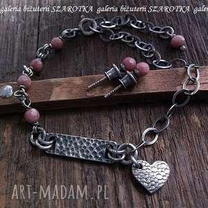 PUDROWY komplet biżuterii z rodonitów i srebra, rodonit, srebro, oksydowane