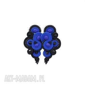 kolczyki lispiro dark cobalt soutache, sutasz, stylowe, kobiecie