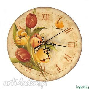 tulipany - zegar, decoupage, tulipany, stylowy, drewno