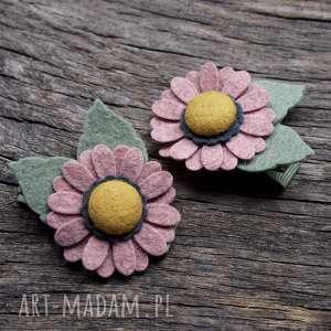 momilio art spinki do włosów kwiatki cameo pink, spinki, filc, kwiatywewłosach