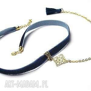 naszyjniki choker - navy smycz , choker, aksamitka, chwost, metal biżuteria