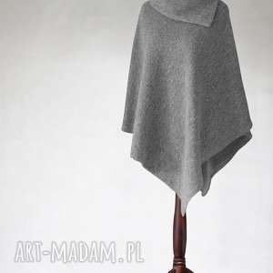 PONCHO z WEŁNY PARZONEJ, poncho, wełna, sweter, narzutka, tkanina