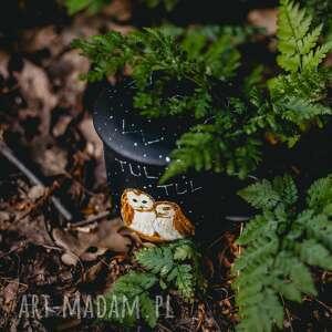 hand made kubki kubek artystyczny z zaparzaczem - zakochane sowy