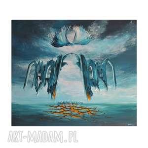 palący grunt i zimne niebo, oryginalny obraz ręcznie malowany, surrealizm