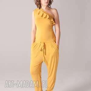 ubrania kombinezon z falbanką na jedno ramię, kombinezon, wiązany, dopasowany