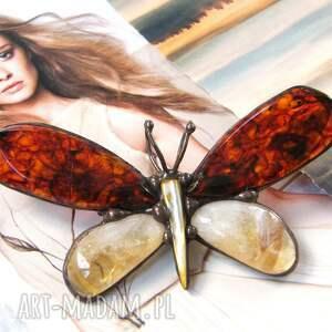 ręcznie robione broszki broszka i wisior: motyl bursztynowy z miodowym cytrynem