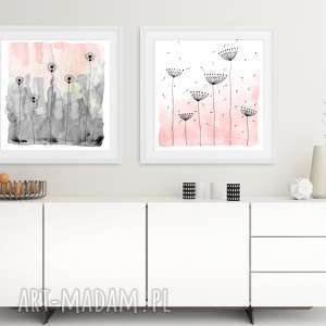 zestaw 2 prac 50x50cm, kwiaty, pastel, obstrakcja, obraz, plakat, unikalny
