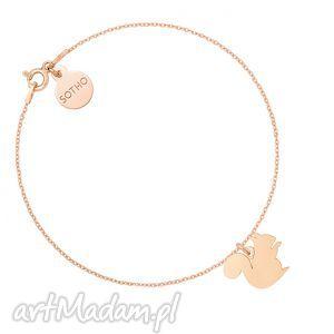 bransoletki bransoletka z wiewiórką różowego złota, bransoletka, wiewiórka, różowa