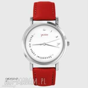 zegarek - szczęśliwi czasu nie liczą czerwony, skórzany, zegarek, bransoletka