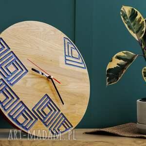ręcznie robione zegary zegar ścienny z drewna dębowego, żywica, wzór