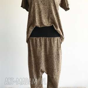alfabet złudzeń-komplet, boho komplet, spodnie baggy, etno zestaw, bluzka
