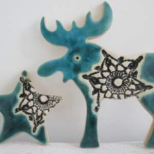 zestaw 2 magnesów świątecznych w turkusie, świąteczne, dekoracje, bożonarodzeniowe