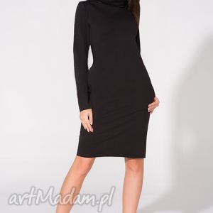sukienka midi z kominem, t147, czarna - sukienka, dzianina, bawełna, komin, kieszenie