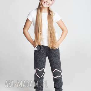spodnie dsp10b, spodnie, wygodne, sportowe, dziewczęce, serca