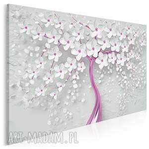 obraz na płótnie - drzewo biały różowy kwiaty 120x80 cm 98403