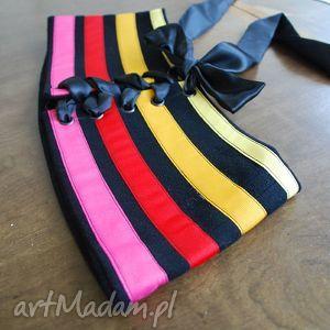 handmade ubrania kolorowy gorset w paski