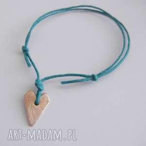 unikalny, serduszko bransoletka, brąz, sznurek, serce