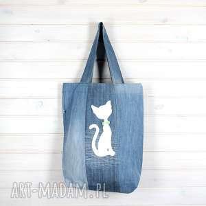 torba dżinsowa z kotem kot dla kociary, torba, dżinsowa, kot, kociara, zapinana