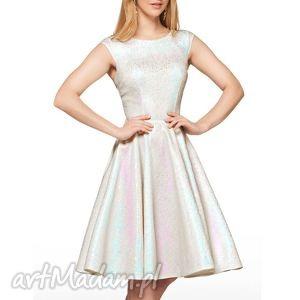 sukienki sukienka scarlett midi selena , midi, rozkloszowana, mieniąca, błyszcząca