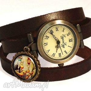 handmade zegarki hieroglify - zegarek / bransoletka na skórzanym pasku