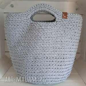 szydełkowa damska torba shopperka szara, torba, torebka, damska