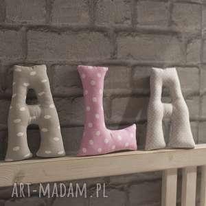 literki bawełniane ala, literki, litery, dziewczynka, zawieszka, imię, prezent