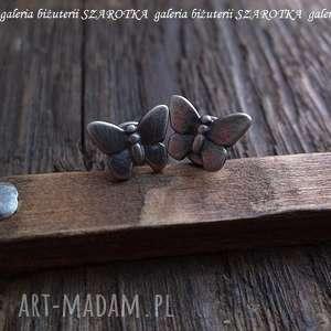 MOTYLE NAUSZNE kolczyki ze srebra, motyl, motylki, srebro, oksydowane, sztyfty