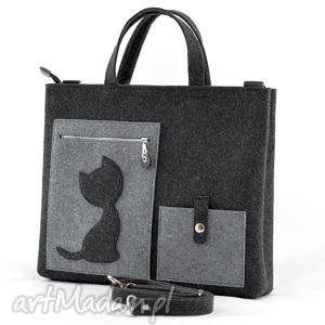 Duża Torba do ręki i na ramię - filcowa z kotem, filc, filcowa, kot, kotek,