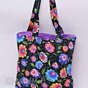 torba na zakupy shopperka czarny łowicz fioletowa podszewka, torba