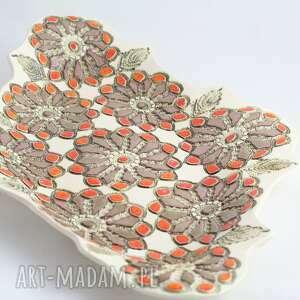 półmisek dekoracyjny ceramiczny duży złoto pomarańczowy, ceramika artystyczna