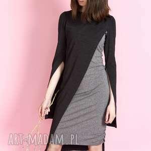 sukienki sukienka szara skos, sukienka, polska produkcja, wygodna, do pracy