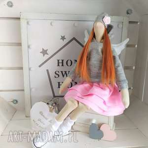 hand-made lalki anioł tilda stróż z modlitwą pamiątka chrztu