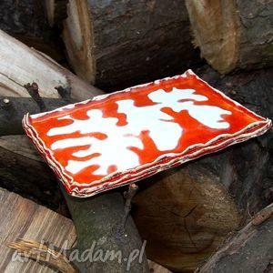 Prezent Mydelniczka biało-czerwona, mydelniczka, łazienka, mydło, prezent, ozdoba