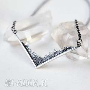 naszyjniki naszyjnik z górami, góry, oksydowany, ręcznie wykonany, srebrny, miłośnik