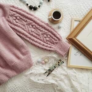Różowy bomberek swetry mondu sweter, wełniany, dziergany