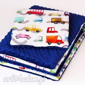 zestaw niemowlaka autka granat, zestaw, kocyk, poduszka, dla dziecka